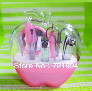 Free Shipping Convenient to Carry Apple Shape Shell Stainless Steel 9 sets Beauty Manicure  Nail Tools Eyebrow Shaping Tools