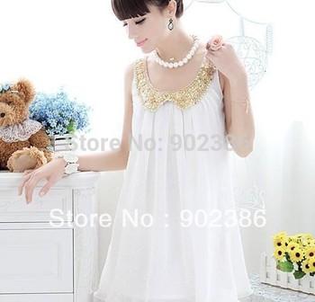 Women chiffon dress Novelty Small white gold collar sleeveless chiffon dress Cute Dresses LQ0012