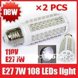 X2PCS Ultra Bright 6000-6500k E27 7W 110V 108 LEDs Light Bulb Corn Lighting LED Lamp, Free Shipping