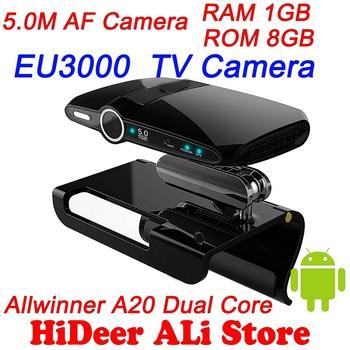 EU3000 5.0MP and Mic android 4.2 tv box camera HDMI 1080P Allwinner A20 Dual Core 1.5G RAM 1GB ROM 8GB.skype  Free Shipping