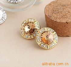 Min.Order is 15 USD!5001 Japan and South Korea Phnom Penh, wind round satellite stone mosaic earrings (coffee)