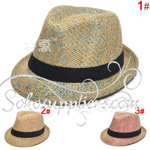 Children Kids Summer Spring Line Fedoras with Shinning Thread Toddler Sun Hat Cap Straw Hat 10pcs Free Shipping MZL-006(China (Mainland))