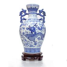 Ceramics interaural vase blue and white dragon modern fashion home decoration crafts decoration(China (Mainland))