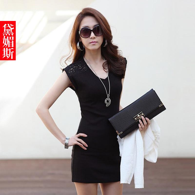 Free shipping 2013 summer fashion Slim black and white lace dress,sex women lace dress(China (Mainland))