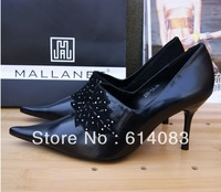 Special offer free shipping wholesale 2013  women's classy&stylish exquisite rhinestones black cow leather high heels