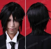 Free shipping Cool men Short Black Sebastian Michaelis Kuroshitsuji Cosplay party Wig