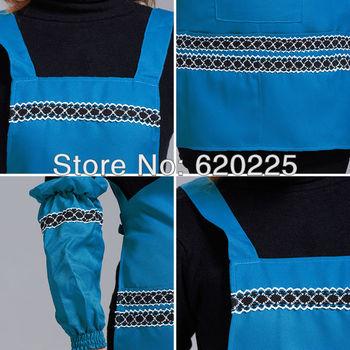 Women sleeveless 100% Polyester waterproof anti dirty bib four pockets supermarket hotel coffee shop Apron 12 colors SKU#75026