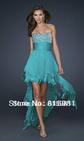 2014 Teal A-line Tassels Chiffon Short Bridesmaid Dress Party Gown Beaded XS S M L XL XXL 3XL Free Shipping in Stock
