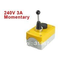 240V 3A 2-Direction Joystick Black Flat Momentary Push Button Switch Station