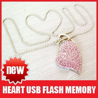 Necklace U Disk Guaranteed Full Capacity Heart of Love USB 4GB 8GB 16GB Flash Memory Stick Drive(China (Mainland))