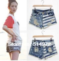 Best selling!! new fashion flag shorts ladies beach shorts women denim short free shipping
