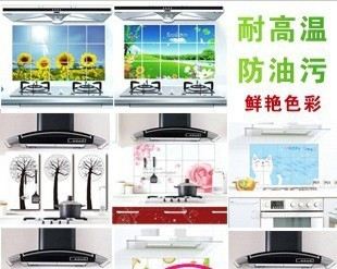 Min.order is $15 (mix order) Quality aluminum foil oil pollution smoke tile kitchen cabinet decoration stickers
