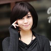 Girls wig bangs oblique short straight hair bobbo handmade real hair elastin element
