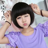 Wig female short hair fluffy bobo short straight prettifier