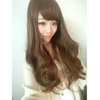 Sweet wig scroll fluffy bangs qi matt silk long curly hair fashion pear big wave of girls
