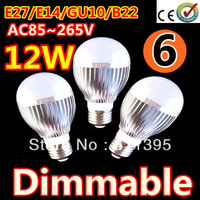 6pcs/lot Retail Dimmable Bubble Ball Bulb AC85-265V 12W E14 E27 B22 GU10 High power Globe light LED Light Free shippng