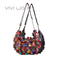Free shipping, Bohemia style, colorful genuine sheepskin leather scales splice bolsas/ totes/ shoulder bags for woman