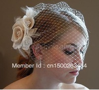 Free Ship 2013 Hot SaleWhite Wedding Bride Dresses Bridal Veil Tull Floral Feather With Comb Bridal Accessories