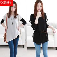 2013 spring and summer women's loose plus size faux two piece chiffon fairy long-sleeve chiffon shirt