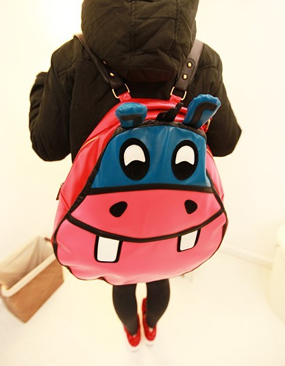 Preppy style cartoon hippo double-shoulder back student school bag women&#39;s handbag(China (Mainland))
