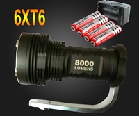 Free shipping Wholesale Sale bright 8000 Lumen 6x CREE XM-L 6x T6 LED 4x 18650 Battery Flashlight Torch Charger Lamp Light