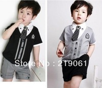 Retail free shipping children baby boys gentleman summer short suits set shirt tshirt+ pants+tie cheapest price BDT-229