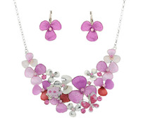 Vintage Luxury Elegant Natural 100% Handmad Painting Colorful Flowers Necklace Earrings Designer Jewelry sets For Women Gift