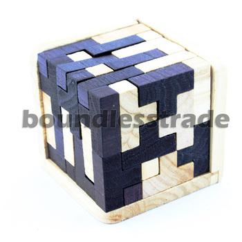 Free shipping 3D Tetris Fancy Enormous T Cube Wooden Puzzle 3D Wood Brain teaser_SP123