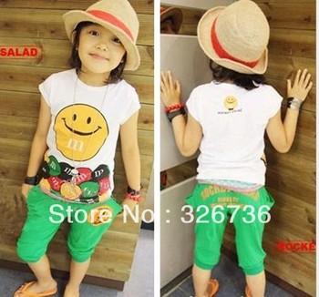 Free shipping! Wholesale smiling children suit summer set 2013 kids short sleeve t + shorts baby set children's sports suit