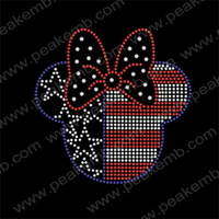 30pcs/Lot Free Shipping Wholesale Minnie Mouse 4th of July Rhinestone Transfer Design Iron-on Heat Motif