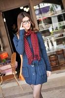 8075 Excellent sweet gentlewomen wool blending twisted pocket belt with a hood long design outerwear sweater