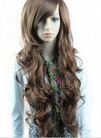 Free shipping Fashion synthetic hair wigs Long curly Big wave Black, Dark and Light brown color(NBW0WG60013-BN2)