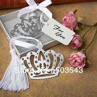 Factory directly sale 50pcs/LOT wedding favor  Regal Crown Bookmarks with Silk Tassel