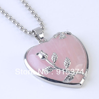 1PC Rose Quartz Stone Heart Leaf Bead Focal Pendant FOR Necklace 33x37mm free shipping