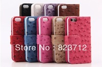 Free shipping Luxury Leather Cover Flip case for iphone5 5G, Ostrich skin leather case with Credit Card