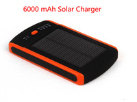 Portable Solar Charger+6000mAh Mobile Power Bank+Dual USB Output+2.1A Output Fast Charging Cell Phones/iPad Free Shipping