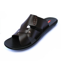 2013 men's full grain genuine leather sandals summer fashion brand designer slippers beach shoes brown plus size 383940414243