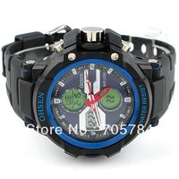 New free shipping Aosheng Mens Waterproof multifunction quartz watch blue AD1306-3