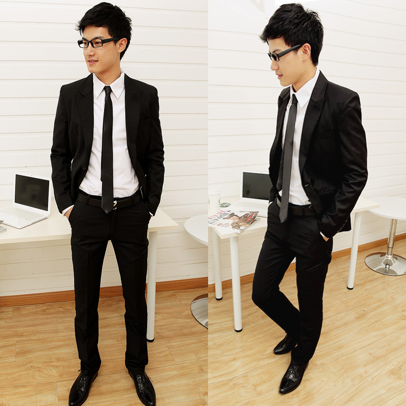 Spring male slim casual suit set blazer black married short design career suit set male(China (Mainland))