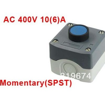 Plastic Shell SPST Momentary Blue Flat Push Button Switch AC 400V 10(6)A