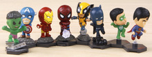 FreeShipping Marvel Mini Pocket The Avengers Movie American spiders Action Figure for the children 8pcs/set(China (Mainland))