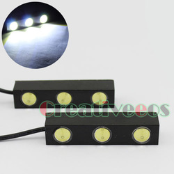 "2Pcs ""Eagle Eye"" High Power 6W Waterproof 3-LED Tail Back up Reverse Light Lamp (Show White Light)(China (Mainland))"