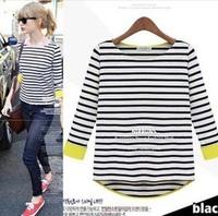 2013 new fashion brand black and white striped t shirt three quarter sleeves cotton female stripes tops tees
