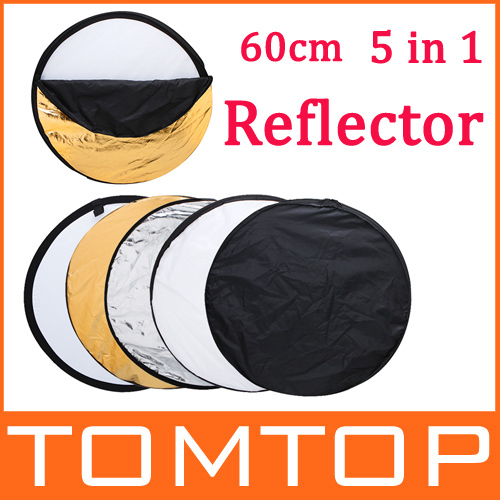 "Free Shipping 24"" 60cm 5 in 1 Portable Collapsible Light Round Photography Reflector for Studio Multi Photo Disc(China (Mainland))"