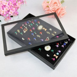 Free shipping 1pc New Jewelry Ring Ear Studs Display Storage Box Holder Show Case 100 Slots(China (Mainland))
