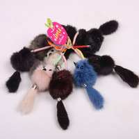 free shipping Cell phone accessories bags pendant keychain small fox mink sent mix color 10pcs/lot