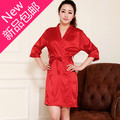 2013 spring and summer red women's solid color faux silk sleepwear lacing robe bathrobes