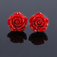 925 pure silver red coral carved lacquer festive red rose earrings stud earring