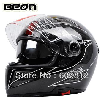 BEON Motorcross Helmet Double lenses beon carbon fiber helmet motorcycle race automobile male speed reducer motorbike helmet