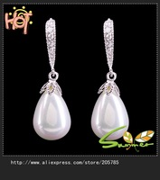 2013 long earrings vintage beads lday's 18K white Gold Plated Cubic Zirconia  Hoop Earrings , Free shipping 1pair